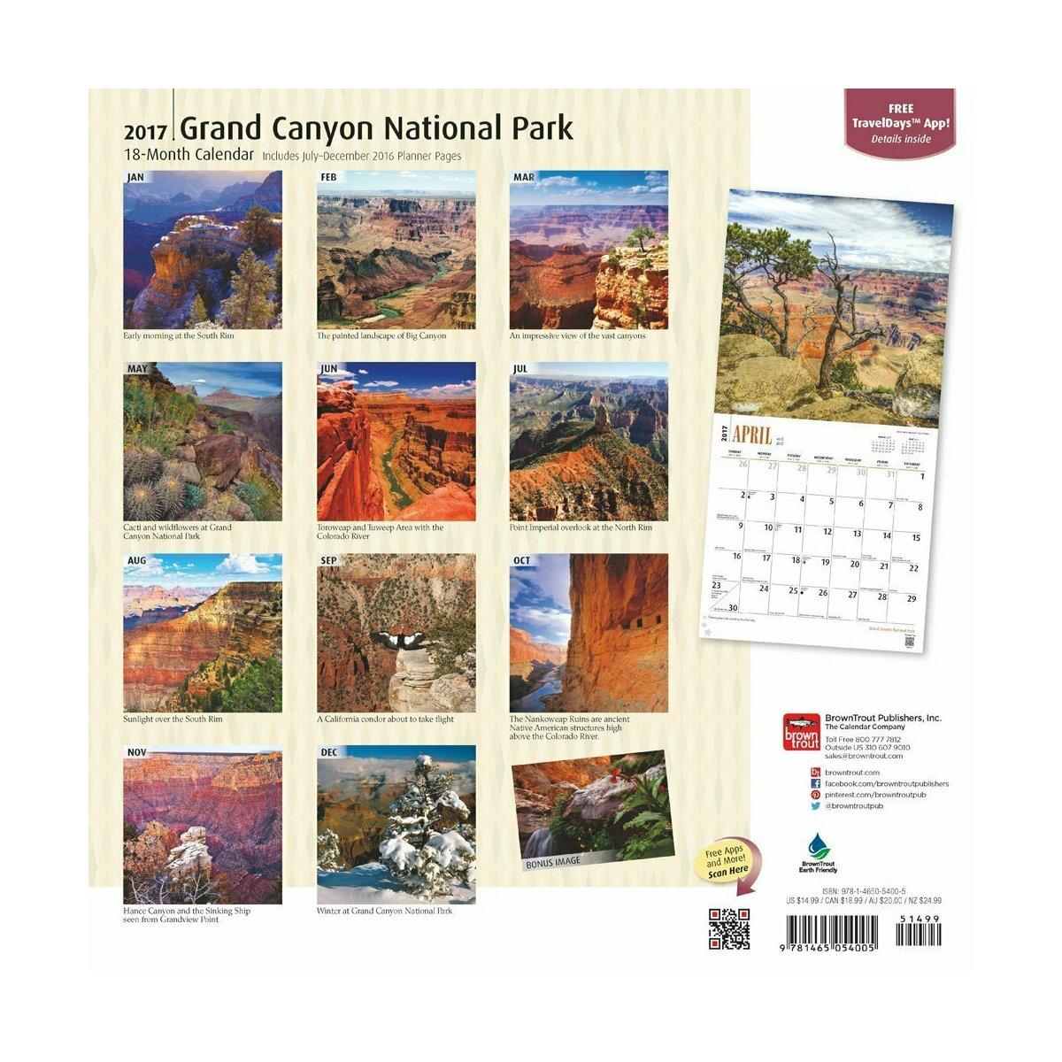 Calendrier grand canyon 2017 Grand calendrier mural 2017