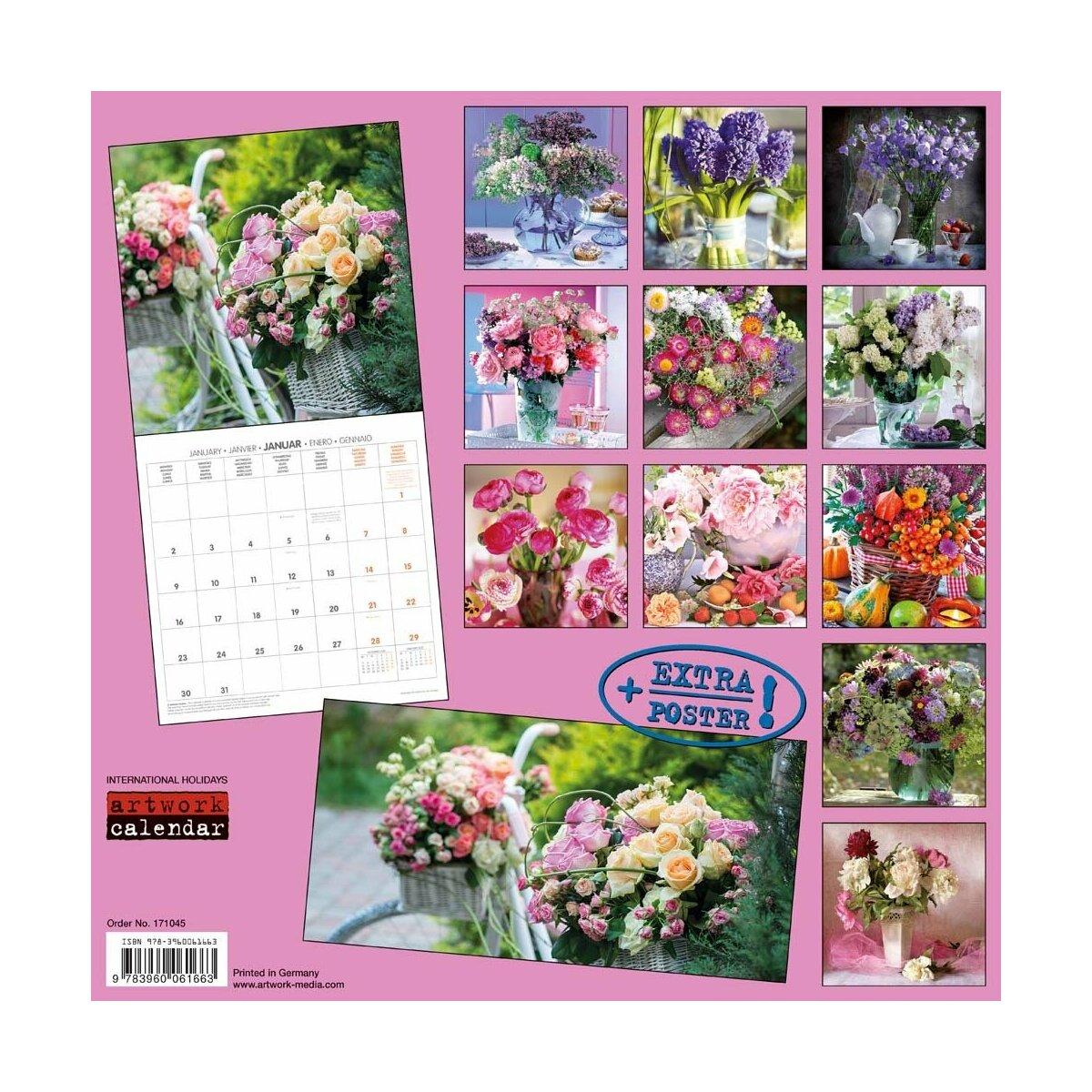 Calendrier 2017 bouquets de fleurs du jardin avec poster offer for Calendrier du jardin