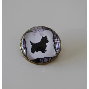 Bijoux broche fantaisie photo Cairn terrier - cabochon rond verre