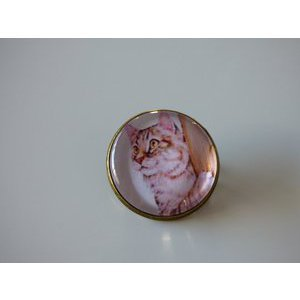 Bijoux broche fantaisie photo chat et arbre - cabochon rond verre