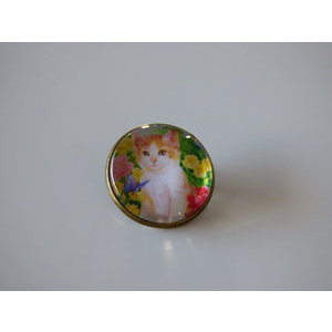 Bijoux broche fantaisie photo chat blanc et roux nature - cabochon rond verre
