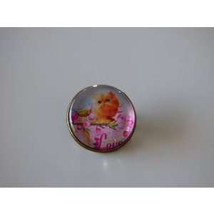 Bijoux broche fantaisie photo chat persan roux love - cabochon rond verre