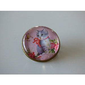 Bijoux broche fantaisie photo chat tigré papillon - cabochon rond verre