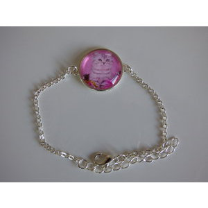 Bijoux bracelet fantaisie photo chat tigré fond rose- cabochon rond verre