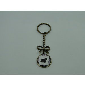 Porte-Clé fantaisie photo Cairn terrier noeud - cabochon rond verre