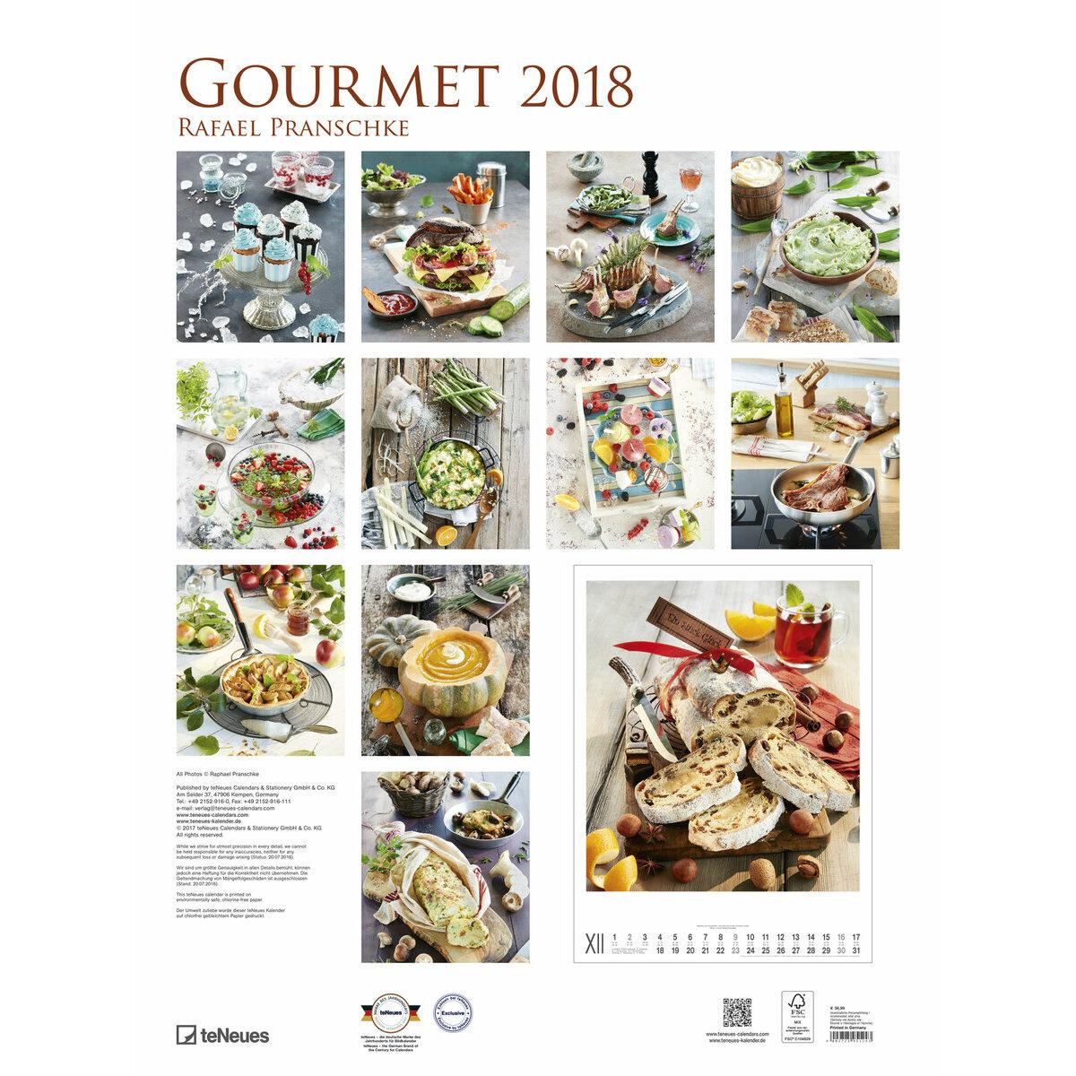 Maxi calendrier poster 2018 cuisine gourmande par rafael for Cuisine gourmande