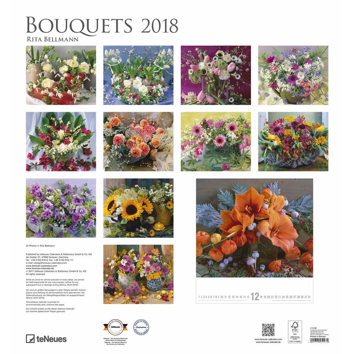 maxi calendrier 2018 art et photo bouquet de fleurs. Black Bedroom Furniture Sets. Home Design Ideas