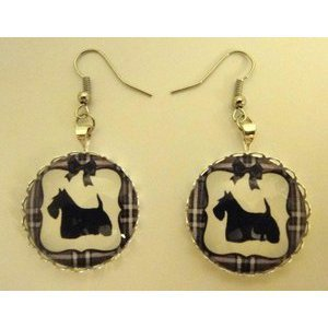Bijoux boucles d'oreilles fantaisie photo Scottish terrier - cabochon rond verre