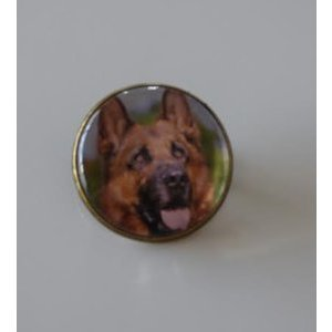 Bijoux broche fantaisie photo Berger Allemand - cabochon rond verre