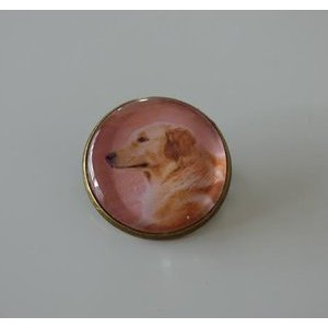 Bijoux broche fantaisie photo Golden retriever - cabochon rond verre