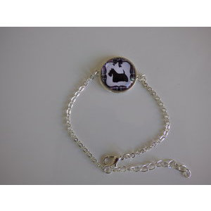 Bijoux bracelet fantaisie photo Scottish terrier - cabochon rond verre