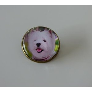 Bijoux broche fantaisie photo Westie - cabochon rond verre