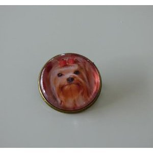 Bijoux broche fantaisie photo Yorkshire Terrier - cabochon rond verre