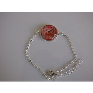 Bijoux bracelet fantaisie photo Yorkshire Terrier - cabochon rond verre
