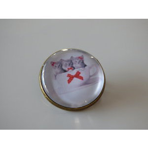 Bijoux broche fantaisie photo chaton trio - cabochon rond verre