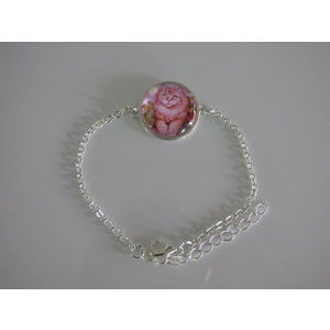 Bijoux bracelet fantaisie photo chat roux - cabochon rond verre
