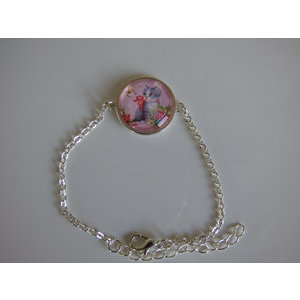 Bijoux bracelet fantaisie photo chat tigré papillon- cabochon rond verre