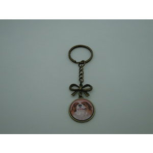 Porte-Clé fantaisie photo Cavalier king charles noeud - cabochon rond verre