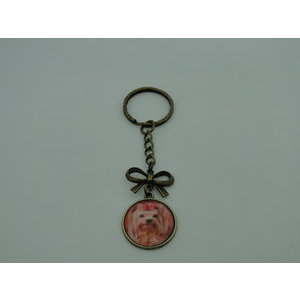 Porte-Clé fantaisie photo Yorkshire noeud - cabochon rond verre