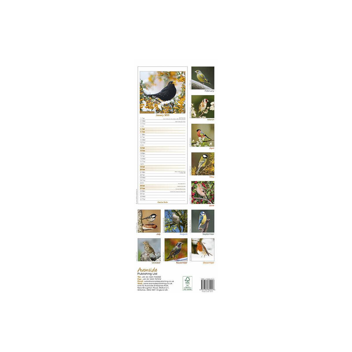 calendrier Oiseau du jardin slim 2019