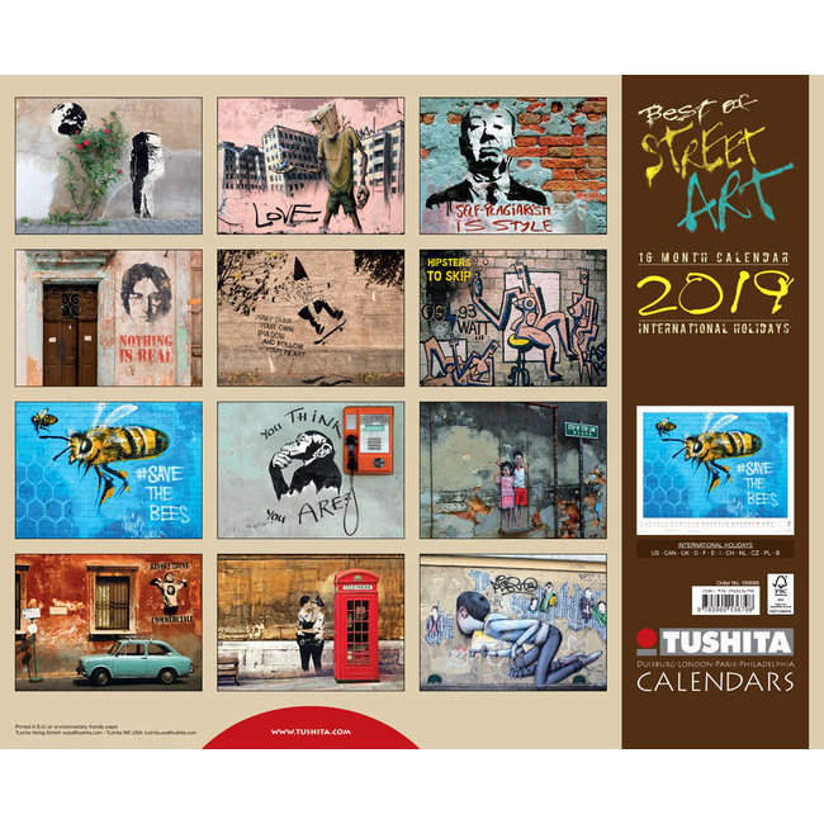 Grand Calendrier Mural 2019.Maxi Calendrier 2019 Street Art Art Urbain Maxi Grand Format