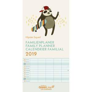 Calendrier familial 2019 Eco-responsable Hipster branché