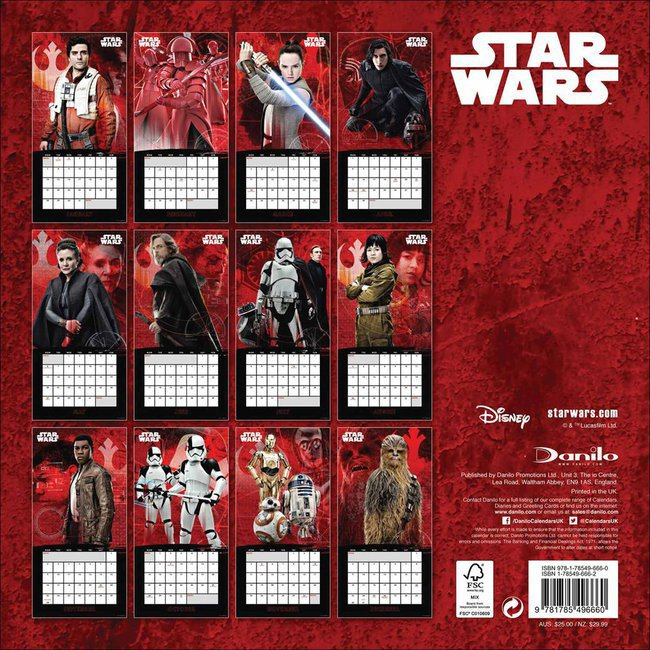 Calendrier Star Wars 2019.Calendrier 2019 Star Wars Episode 8