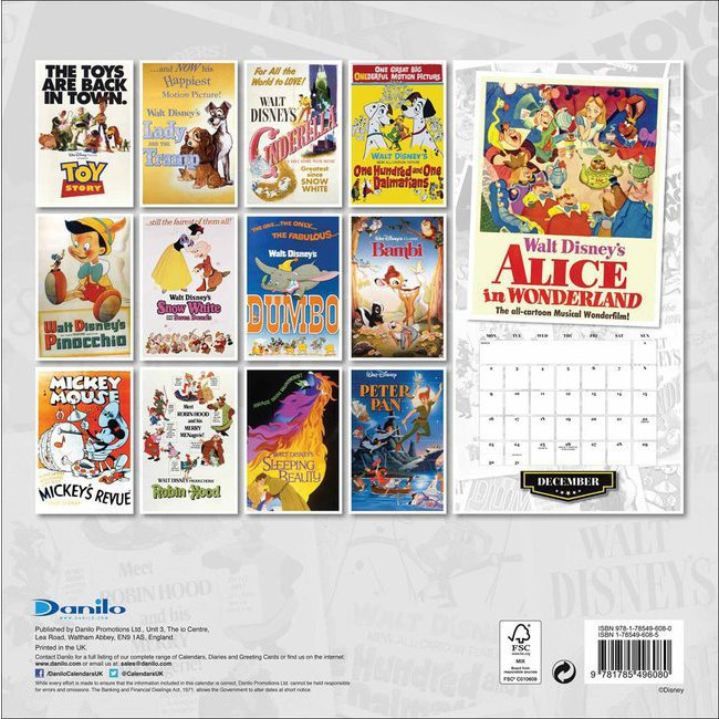 calendrier 2019 affiche disney vintage. Black Bedroom Furniture Sets. Home Design Ideas