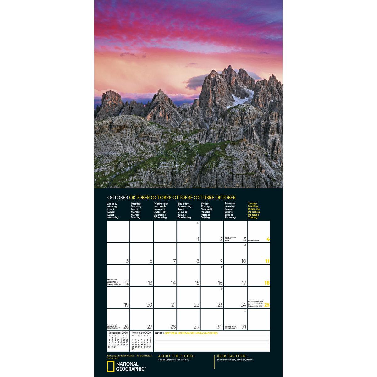 Calendrier Soleil.Calendrier 2020 National Geographic Couche De Soleil