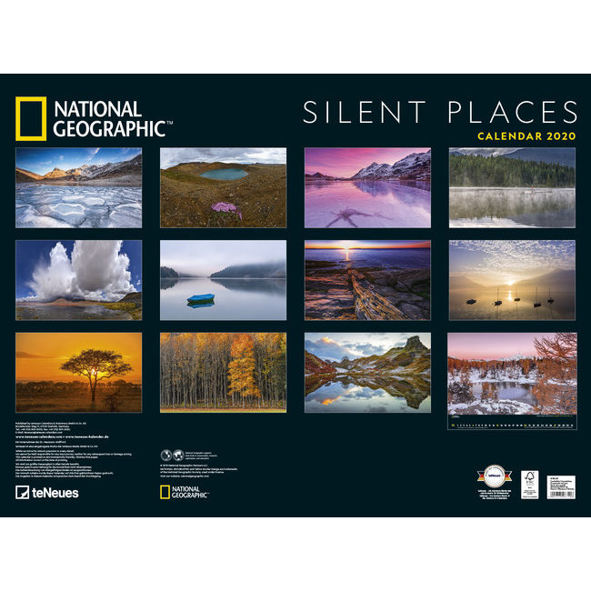 Calendrier National 2020.Maxi Calendrier Poster 2020 Paysage Silencieux Par National Geograhic