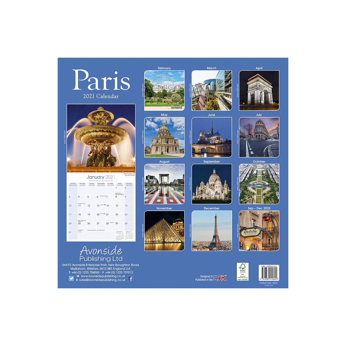 Calendrier 2021 Paris