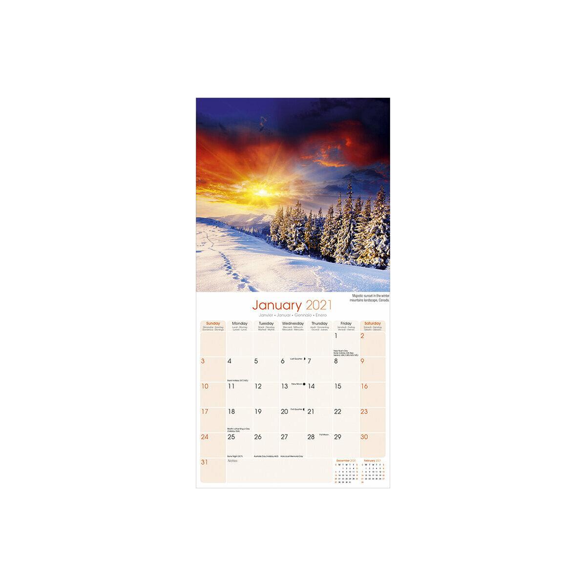 Calendrier 2021 Coucher de soleil