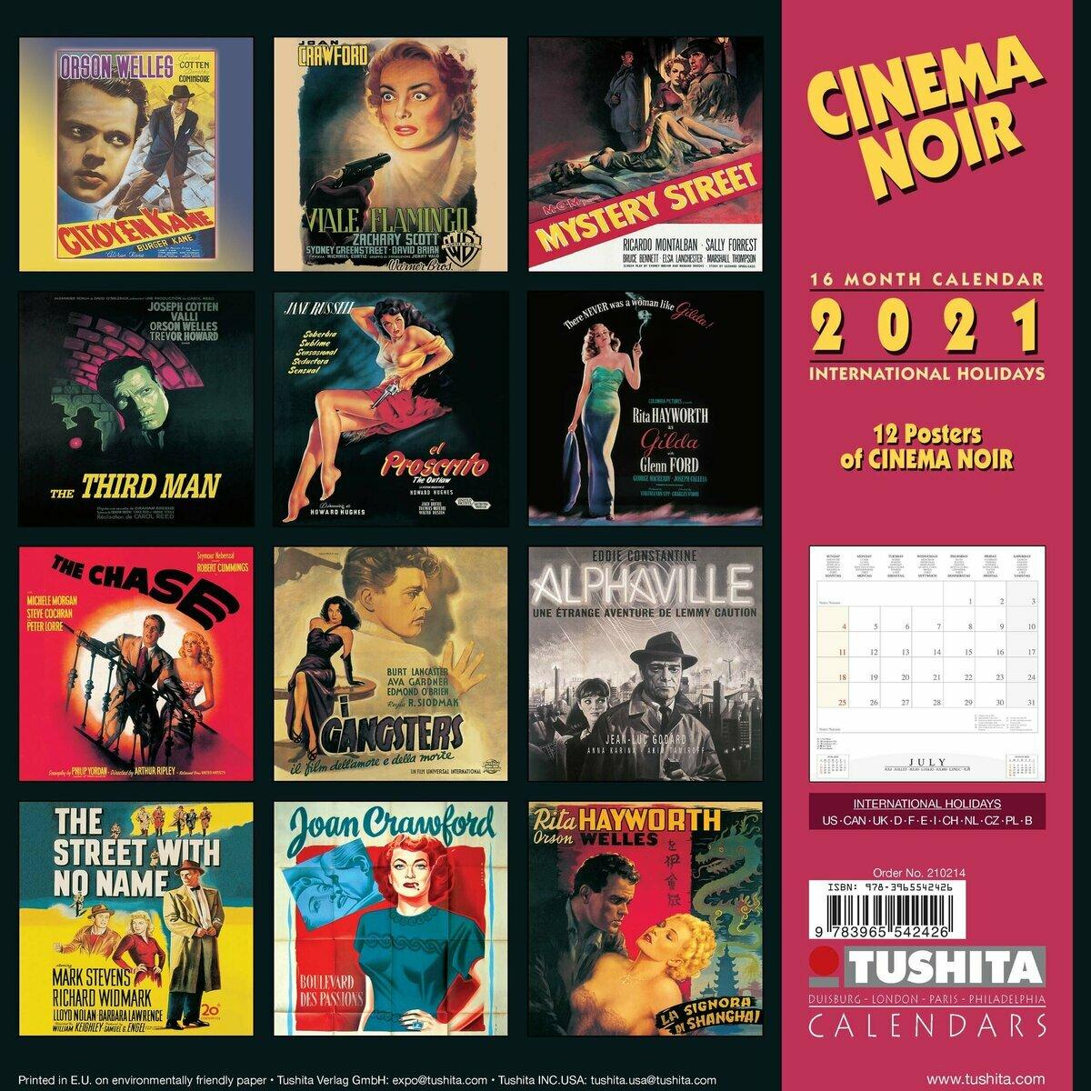 Calendrier 2021 Cinema noir américain