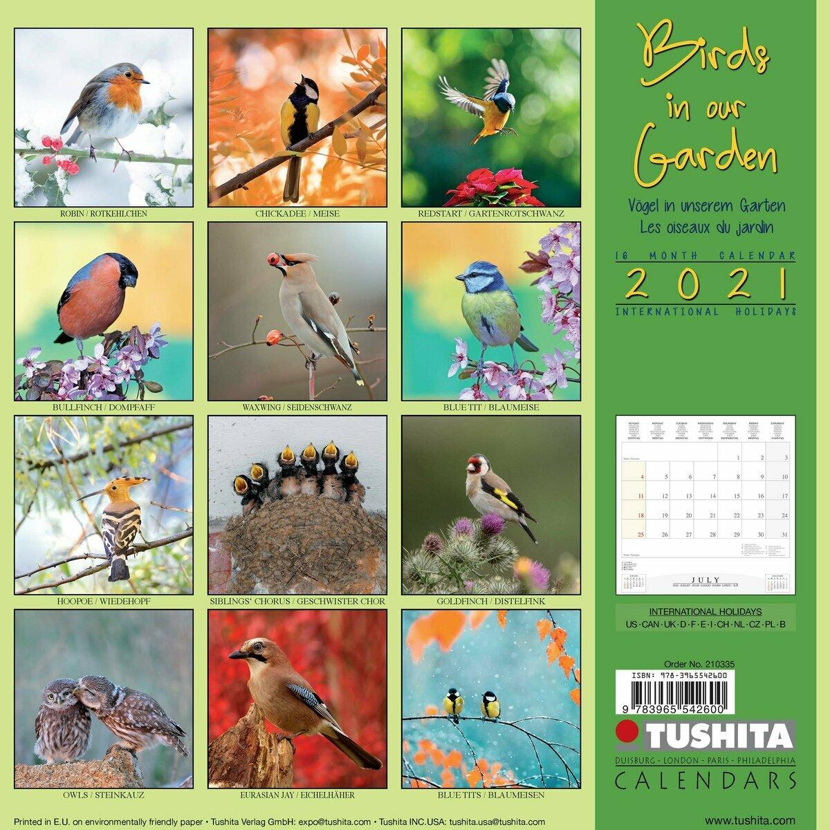 Calendrier 2021 oiseaux de nos jardins