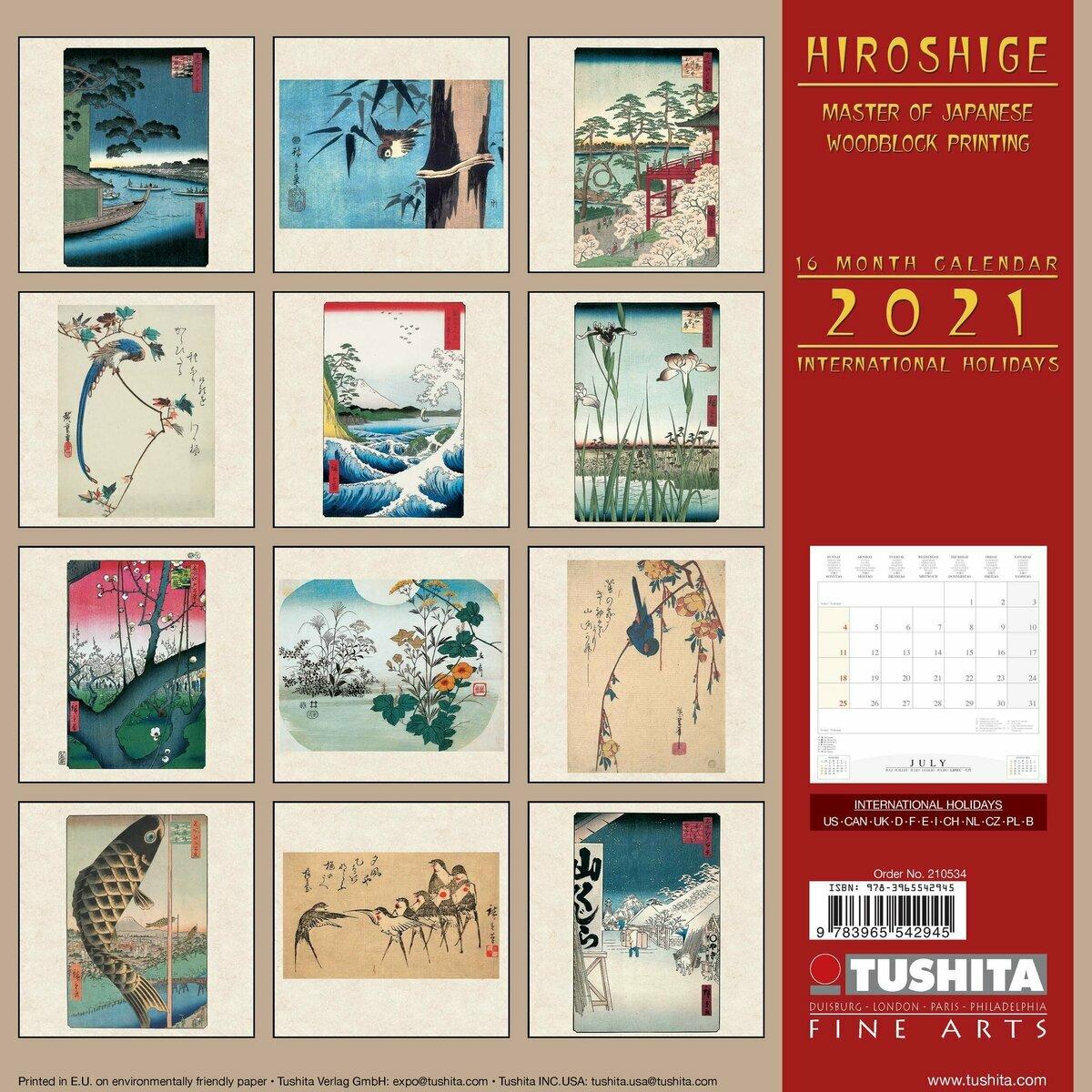 Calendrier 2021 Hiroshige Art Japonais