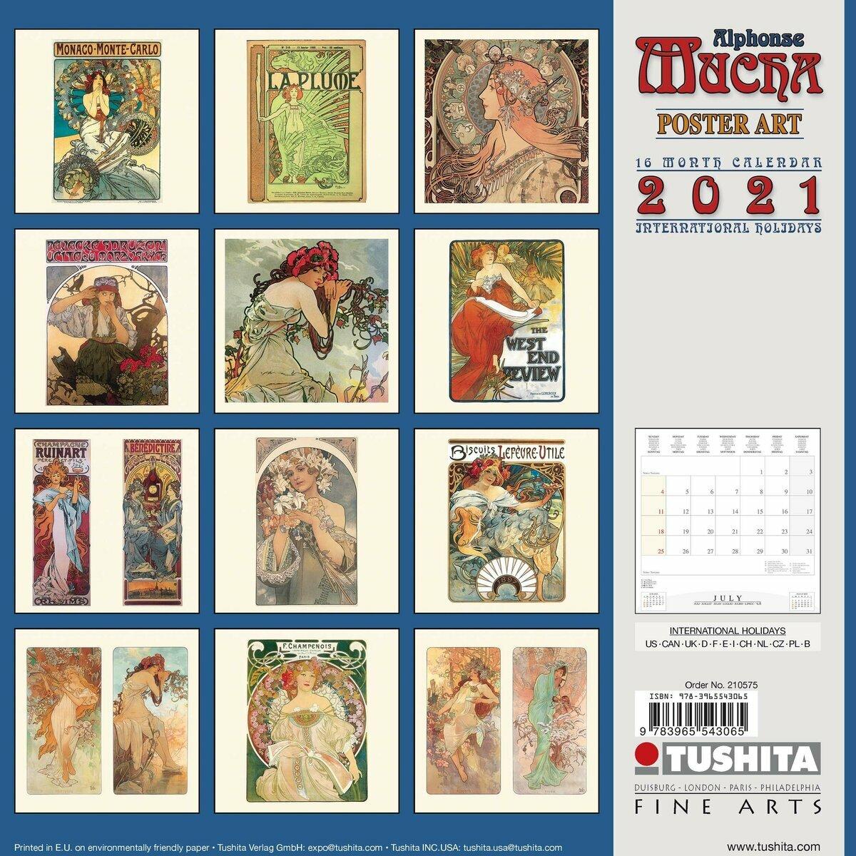 Calendrier 2021 Alphonse Mucha affiche publicitaire