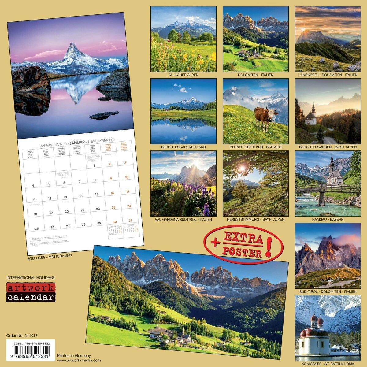 Calendrier 2021 Alpes AVEC POSTER OFFER