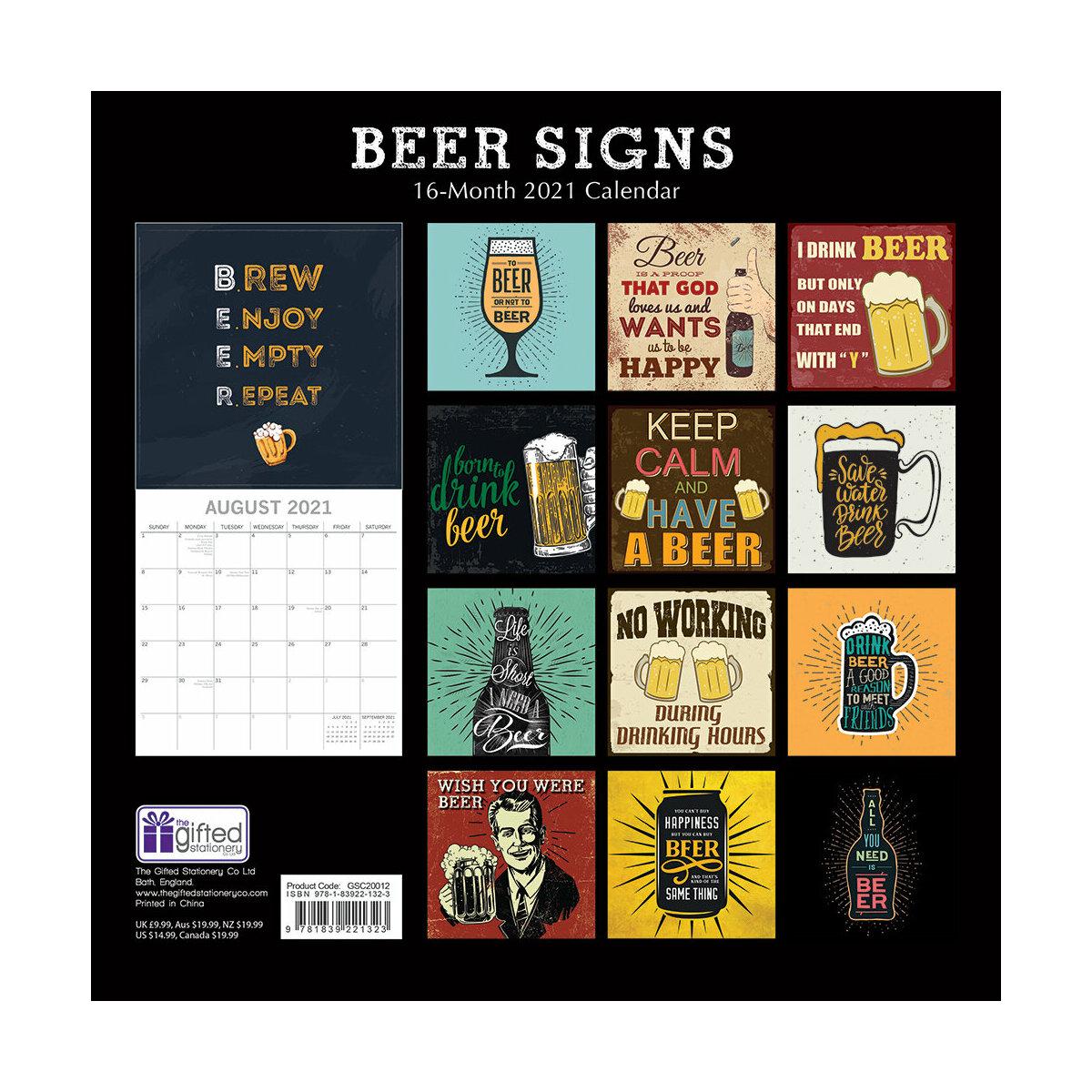 Calendrier 2021 Affiche rétro bière