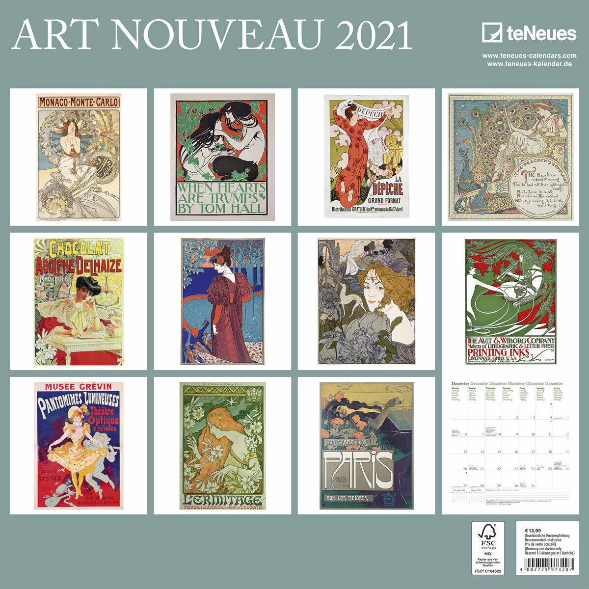 Calendrier 2021 Art nouveau