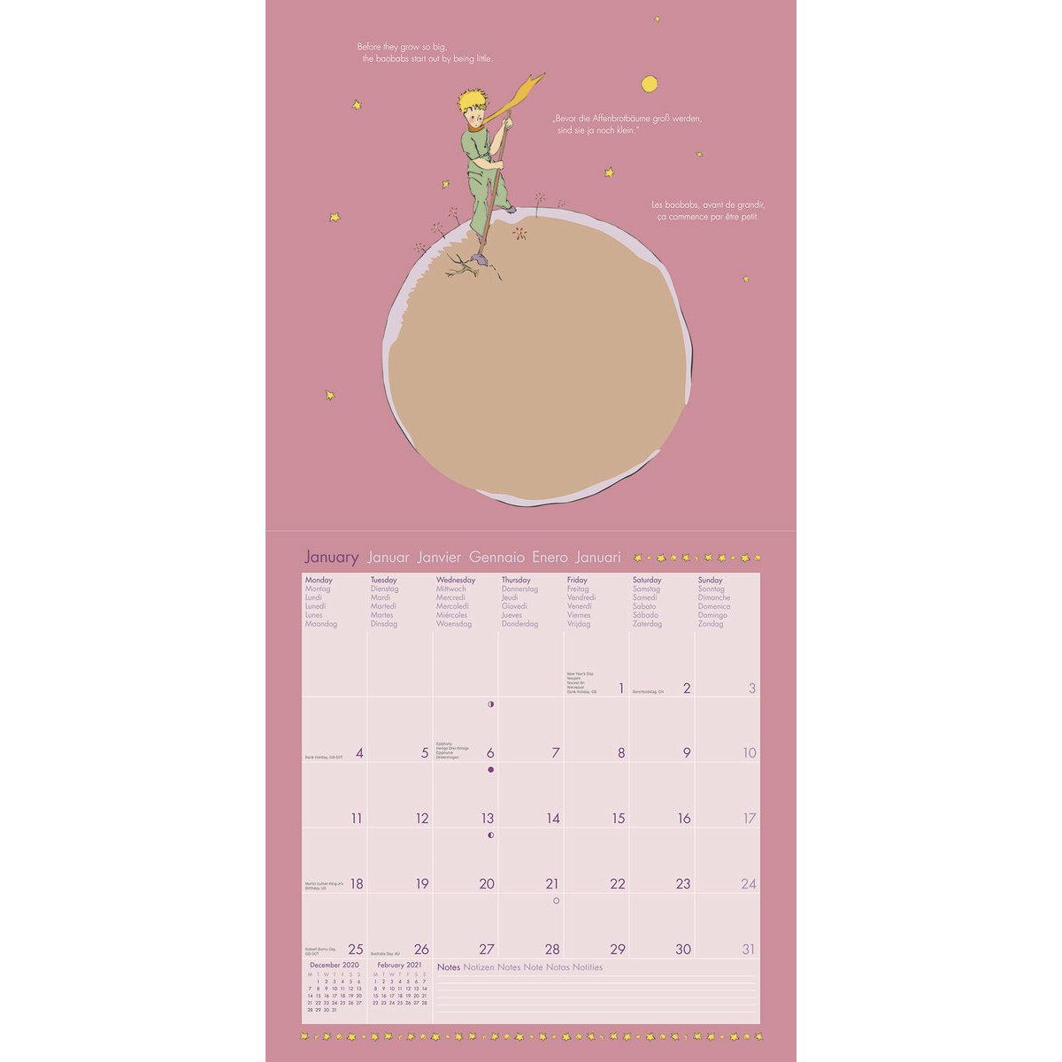 calendrier Le petit prince 2021