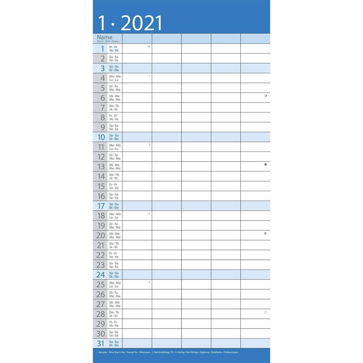 Calendrier familial 2021 Bleu
