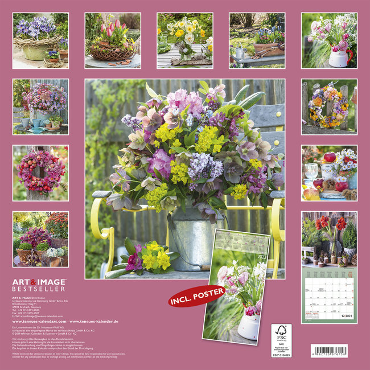 Calendrier 2021 Décoration de jardin avec poster offert