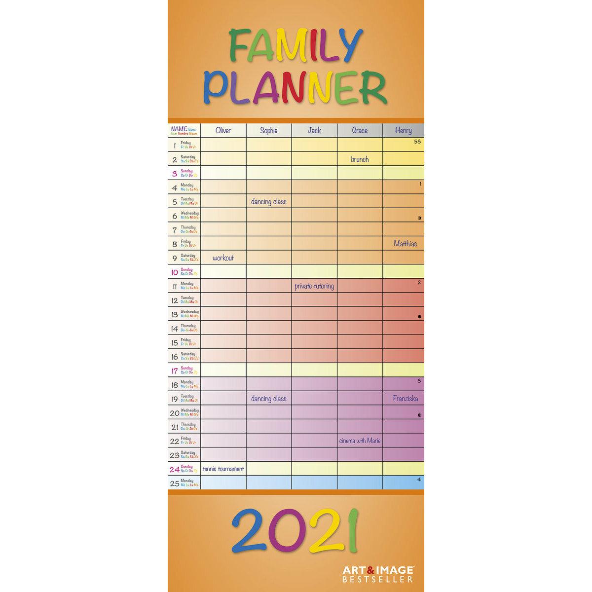 Calendrier familial 2021 Coloré