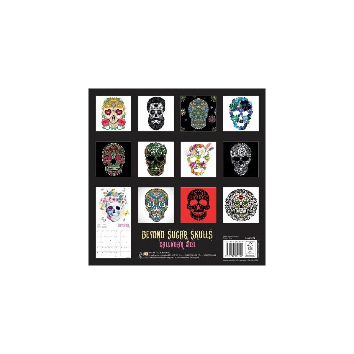 Calendrier 2021 gothique sugar skulls   tête en sucre