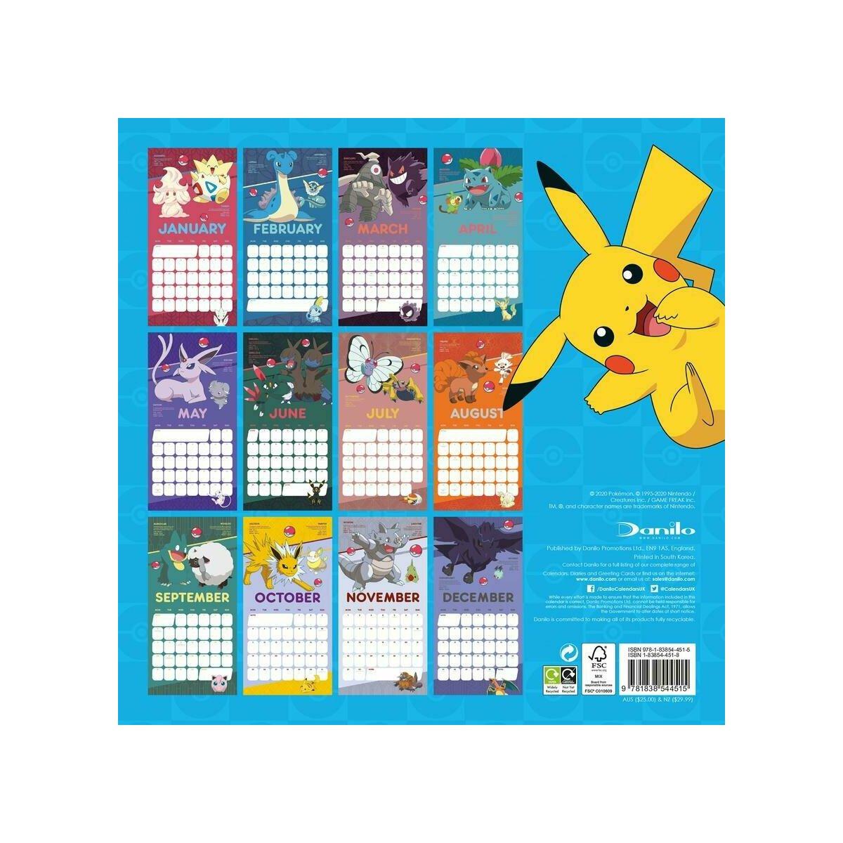 Calendrier 2021 Pokemon