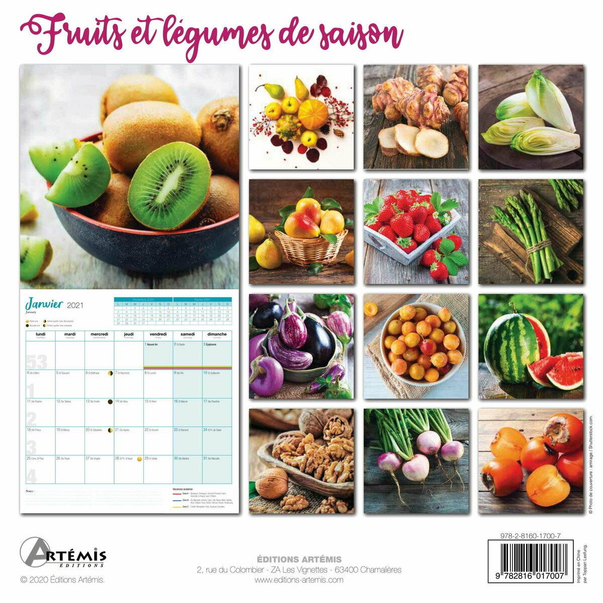 Calendrier 2021 Fruits et légumes au fil des saisons