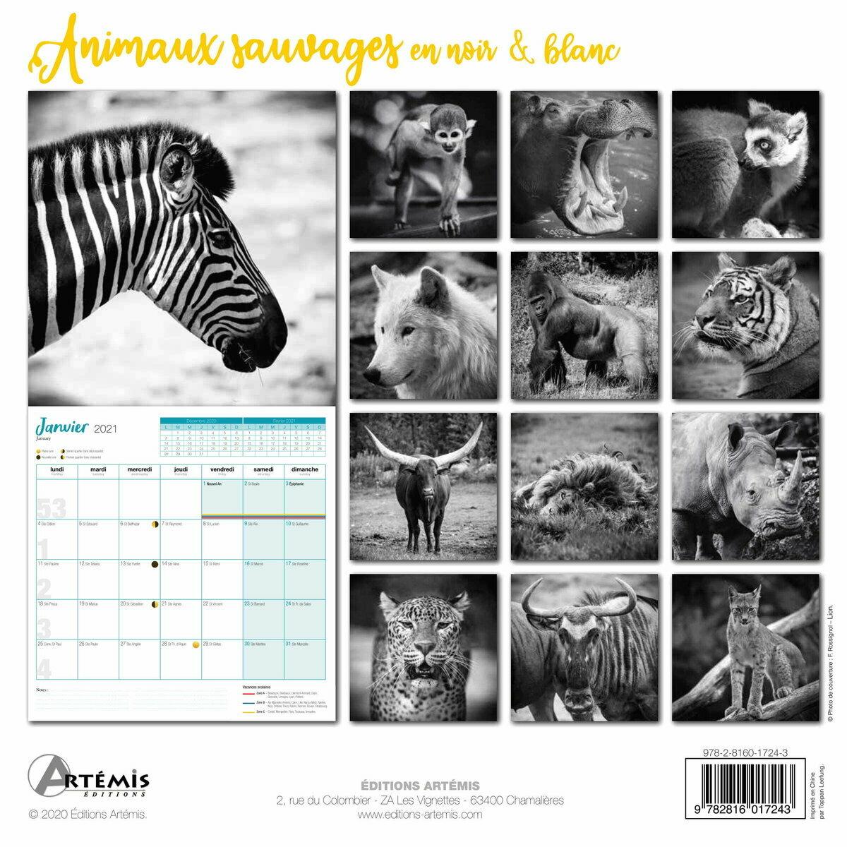 Calendrier 2021 Animaux sauvages noir et blanc