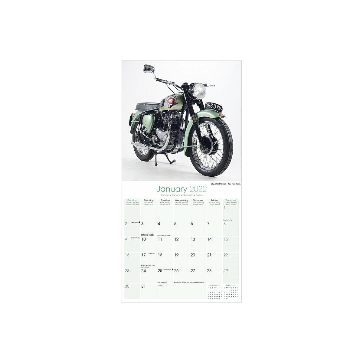 Calendrier 2022 Moto Calendrier 2022 Motos anglaises