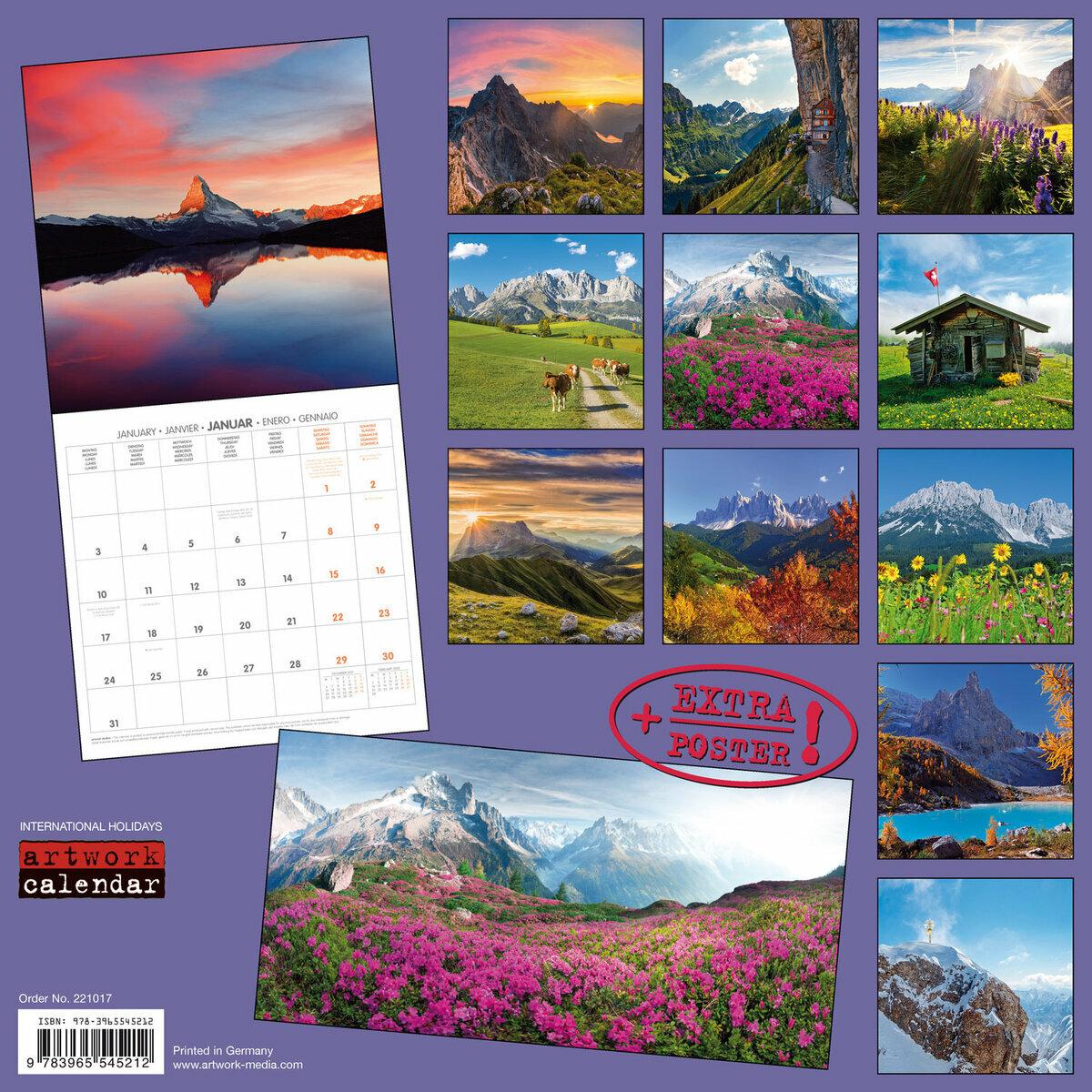 Calendrier Poste 2022 Calendrier 2022 Alpes AVEC POSTER OFFER