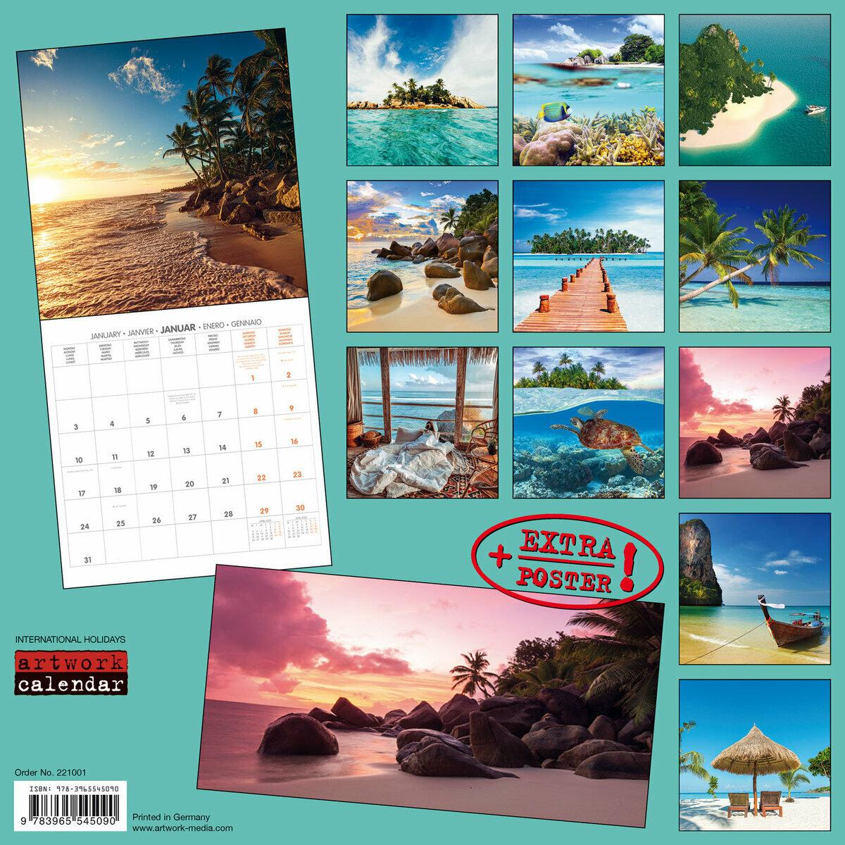 Calendrier La Poste 2022 Calendrier 2022 Iles de rêve avec poster offert